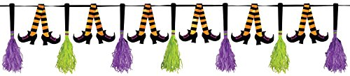 Witch Legs Party Garland with Broom Tassels - 10-foot Banner (Groom On A Broom compare prices)
