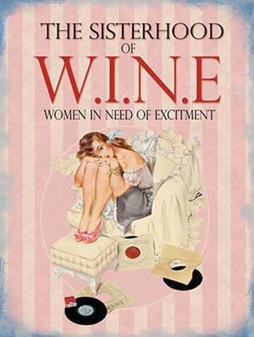 Retro-humour-sisterhood-wine-of-the-vintage-affiche-mtallique-avec-taille-15-x-20-cm
