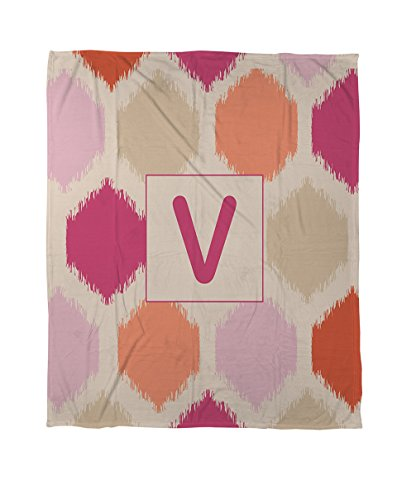 Thumbprintz Coral Fleece Throw, 60 By 80-Inch, Monogrammed Letter V, Pink Batik front-446337