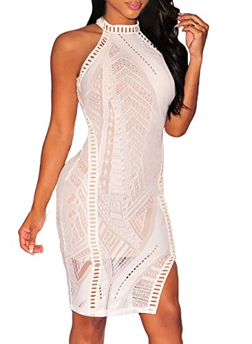 Roswear Women's Lace Nude Illusion Halter Neck Keyhole Back Clubwear Mini Dress White