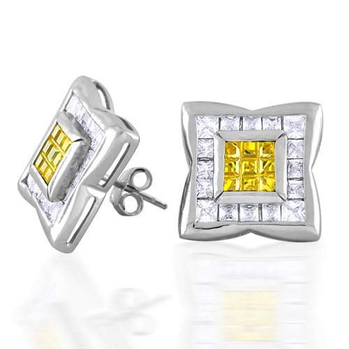 Bling Jewelry Invisible Cut Princess Cut Yellow CZ Unisex Mens Stud Earrings