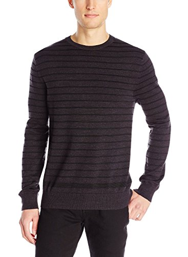 Calvin Klein Jeans Men's 7 GG Denim Yarn Stripe Sweater, Dark Grey Heather, Large