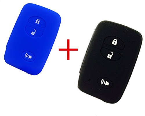 2Pcs New Black Blue Protect Silicone Smart Remote 3 Buttons Key Case Cover Holder Fob Skin for Toyota Camry 4runner Venza Avalon Land Cruiser Prado Fob (2013 Toyota Prado Accessories compare prices)