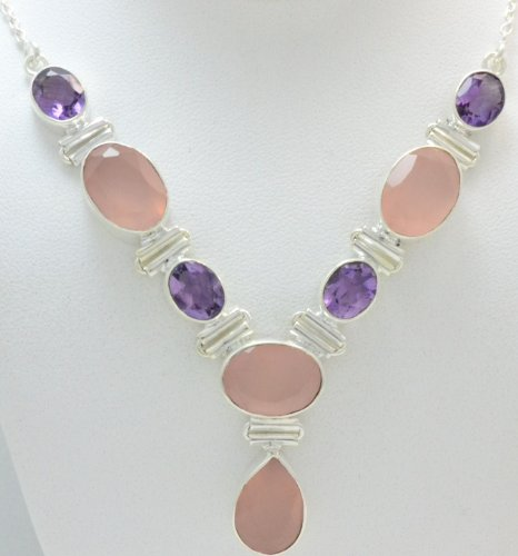 Amethyst, Rose Quartz 925 Silver Jewelry Handmade Necklace