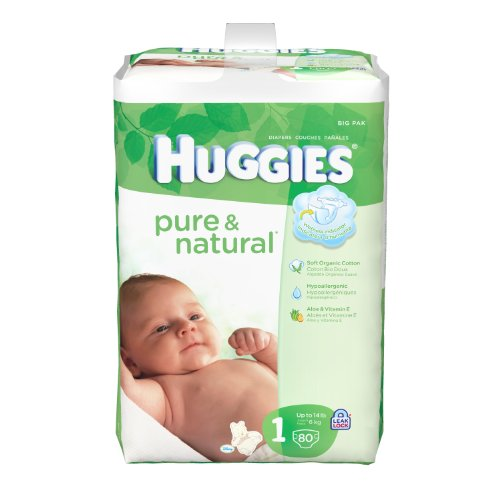 Huggies Pure & Natural Diapers - Size 1 - 80 ct - 1