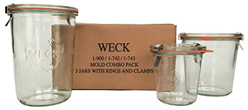 WECK Mold Jar Combo Pack- (1) 900, (1) 742, (1) 743, (3) glass lids, (3) rubber rings and (6) clamps