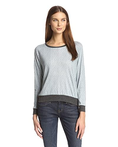 Nation LTD Women's Cable Knit Print Tee  [Heather Grey]