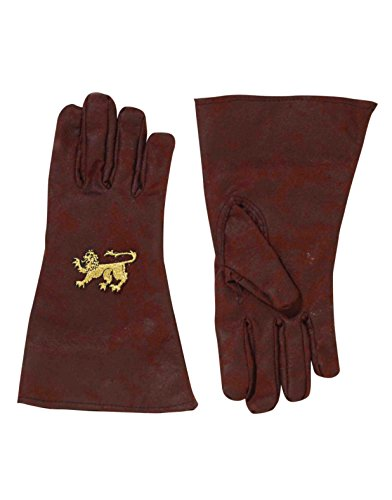 Deluxe Brown Medieval Renaissance Knight Costume Gold Lion Gloves