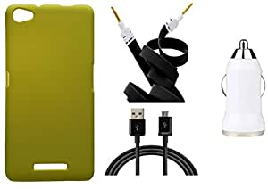 Toppings Hard Case Cover With Car Charger,Data Cable & Aux Cable For Micromax Canvas Hue 2 A316 - Yellow