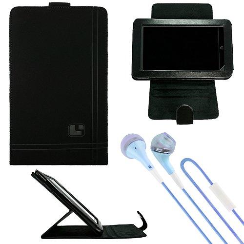 "Sumaclife Nubuck Standing Vertical Case For Hp Slate 7 Extreme 7"" Tablet + Blue Vangoddy Headphones"