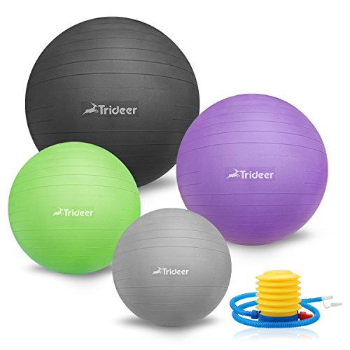 55-85cm Exercise Ball, Extra Thick Swiss Fitness Yoga Pilate Balancing Ball with Pump Plug Kit, Matte Surface Anti-Slip - TRIDEER 2000lbs Anti-Burst Stability Core Cross Physical Therapy Training Ball