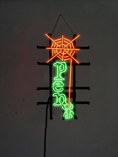 "Spider Web Open Handcrafted Real Glass Tube Neon Sign 17"" X 11"" Lower Price + Lower Shipping Rate The Best Offer!"