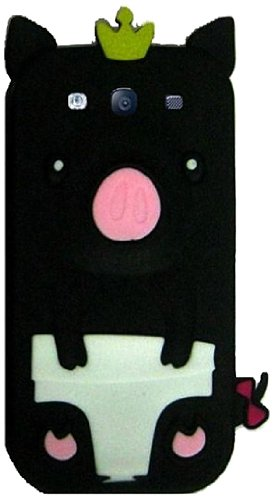 Qtech Qt-1186 Unique Cute Pig Protective Case For Samsung Galaxy S3 - 1 Pack - Retail Packaging - Black
