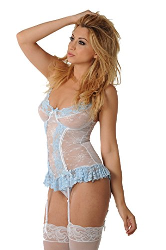 Velvet Kitten White and Blue Invisible Lace Sexy Bustier 3201 Medium/Large