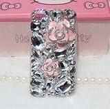 ◆3Dデコ盛り♪♪キラキラ♪ラインストーンケース/iphone5/アイフォン5/専用ケースカバー/ROSE