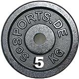 ScSPORTS Hantelscheiben Gusseisen 4 x 5 kg = 20 kg 30/31 mm Lochdurchmesser Bohrung
