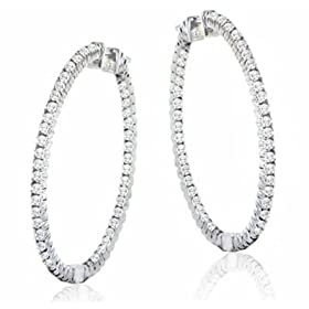 1.10 ct. TW Round Diamond In/Out Large Hoop Earrings in 14k WG: M. A. Jewelry Designs