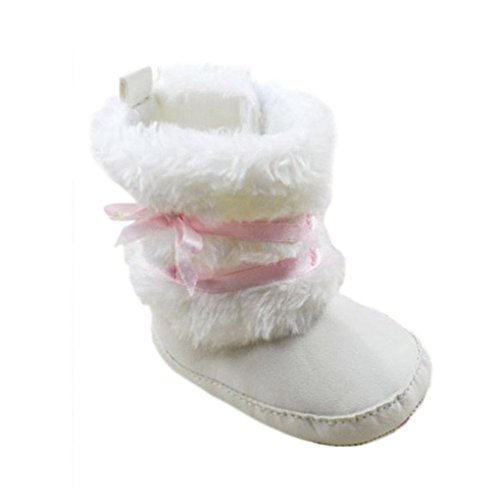 LUFA Bébé Infant Girls bowknot Crib Shoes chaud molleton Prewalker Bottes 0-12m 11cm blanc