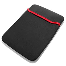 Trendy Reversable Black & Red Neoprene Notebook Laptop Sleeve Cover Case for 15.6 Inch Acer Asus Compaq Dell HP Samsung Sharp Toshiba Apple Macbook