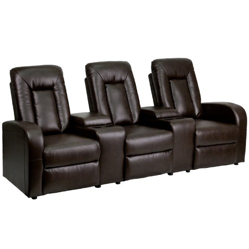 Flash furniture 3 seat brown leather home theater recliner with storage consoles electronics Home theater furniture amazon