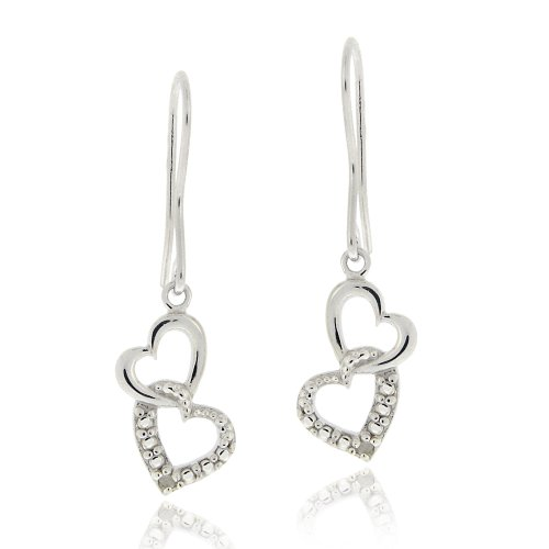 Sterling Silver Diamond Accent Double Heart Dangle Earrings