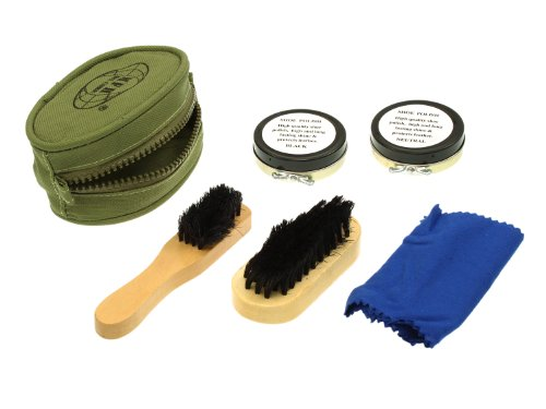 mfh-compact-shoe-care-kit-complete-with-2x-brush-pouch-polishing-cloth-and-2x-polish