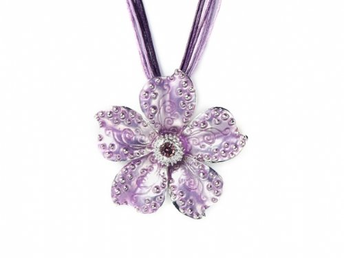 Purple Flower Pendant With Inset Crystal