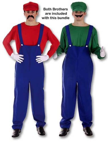 Adult Men's Funny, Super Plumber Bros, Mario Style Fancy Dress Costume. Includes both Red AND Green Brothers. One Size Costume But Usually Fits Mens Small, Medium And Large. Perfect For A Stag Do.