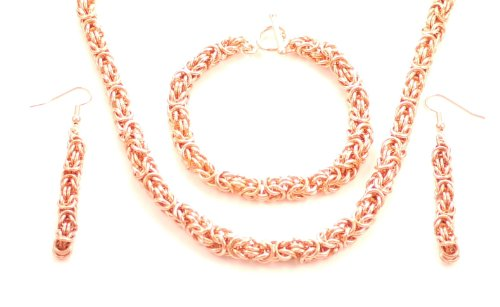 Hanfords of London Copper Byzantine Chainmaille Handmade Necklace, Bracelet & Earrings Set