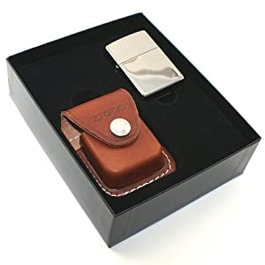 Zippo Black Ice And Leather Pouch Gift Set
