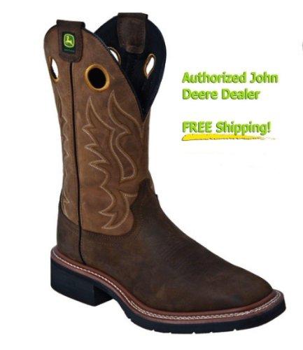 John Deere Men's John Deere 12 inch Broad Square Toe Steel Toe Western Work Boots, DK KHAKI/TAN, 11W