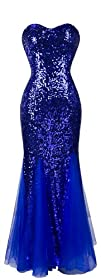 Angel-fashions Womens Padding Sleeveless Blue Sequins Tulle