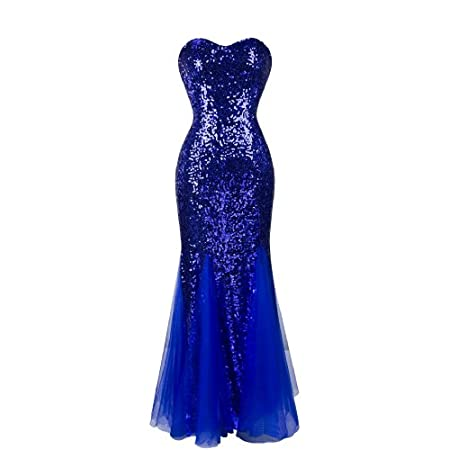 Padding Sleeveless Blue Sequins Tulle Evening Dress