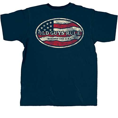 Old Guys Rule Mens Born In The USA T-Shirt Large Navy (Old Guys Rule T Shirts compare prices)