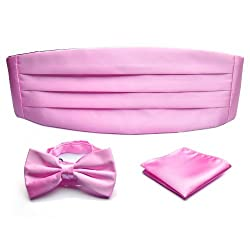 PenSee Formal Pink Pre-tied Bow Tie & Pocket Square & Cummerbund Set