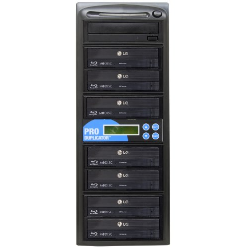 Produplicator 1 to 7 Blu-ray 16X BD BDXL M-Disc CD DVD Duplicator (with 500GB HDD, USB Connection and Nero Essentials CD/DVD Burning Software) Copier Tower Replication Recorder Burner Burner