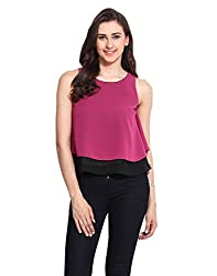 Solid Pink Georgette Double Layered Top Medium
