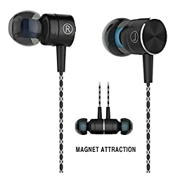 Earbuds,Sport HIFI In-Ear Earbuds Heaphones Headset Earphones with Noise Isolating Headset Magnet Attraction Earphones with Mic and Volume Control (Black)