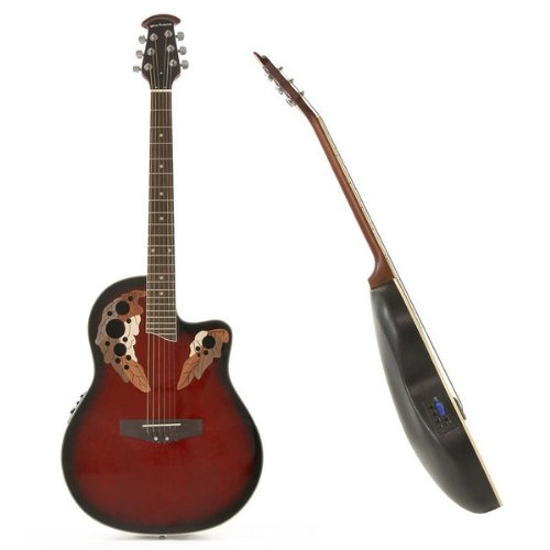 Deluxe Round Back Acoustic Guitar Red Burst