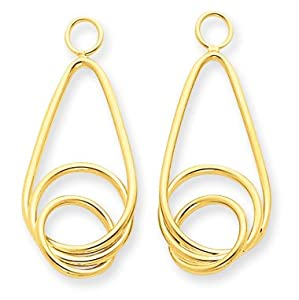 14k Yellow Gold Polished Fancy Teardrop Earring Jackets. Gold Wt- 1.2g.