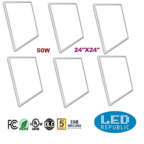 "Ul LED Dimmable 6-PACK Panel Light 2×2 (24""x24"") 50w 4000k (320w Equivalent) 4300 Lumens, Warm White, DLC Qualified,white Edge Dimmer Eligible for Nationwide Rebate Programs"