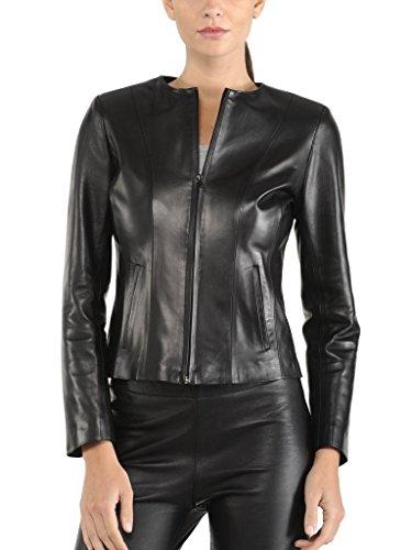 KGN FASHION Women Leather Jacket WL173 S Black