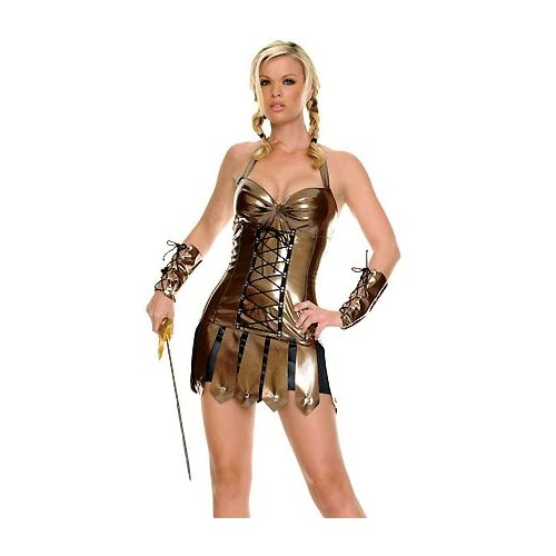 Adult   halloween Costumes: Sexy Babes in Vinyl Warrior - Sexy Adult Warrior Costume Lingerie Outfits