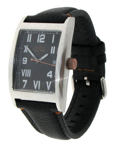Hugo Boss Men's Black Leather & Stainless Steel Retro Watch; Rectangular Analogue Black Dial – Clear and Easy to Read! With Date Display Window; HB.33.1.14.2056