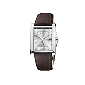 Gucci Men's YA138405 Gucci G-Timeless Rectangle Analog Display Swiss Quartz Silver Watch