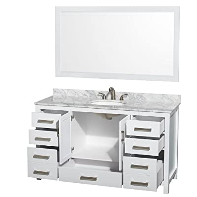 "Wyndham Collection Sheffield 60"" Single Bathroom Vanity in White, White Carrera Marble Countertop, Undermount Oval Sink & 58"" Mirror"
