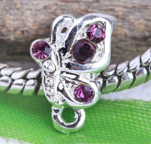 Truly Charming Purple Crystal Butterfly Charm Bead Will Fit Pandora Troll Chamilia Style Bracelets