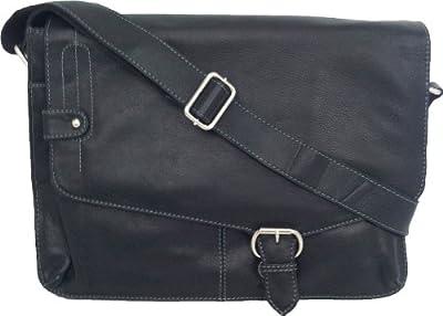 "Unicorn Leather Black 13.9"" laptop Netbook bag Messenger #1M"