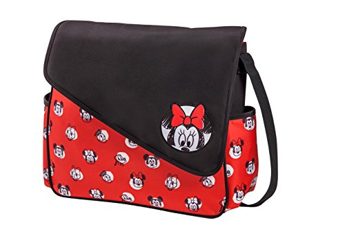 Disney Minnie Mouse Sketch Flap Messenger Diaper Bag, Red/Black