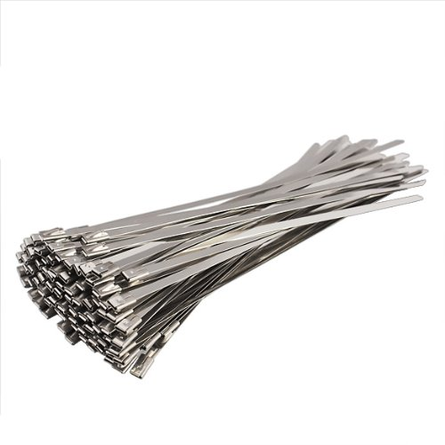 Vktech 100pcs Stainless Steel Exhaust Wrap Coated Locking Cable Zip Ties 4.6*200mm (Tie Aces compare prices)